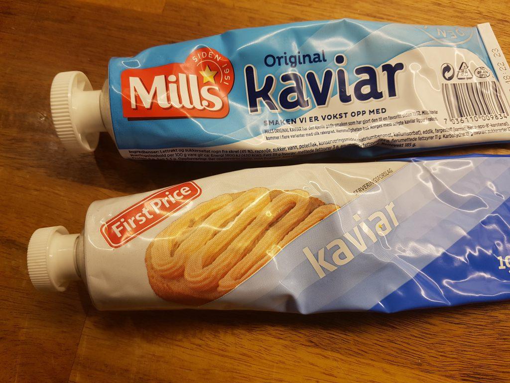 Mange typer kaviar. First Price og Mills original kaviar